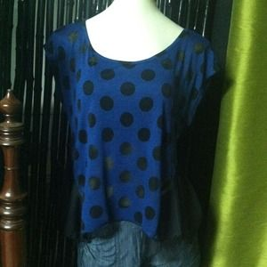 Tops - *SOLD* Blue Polka Dot Lace Top