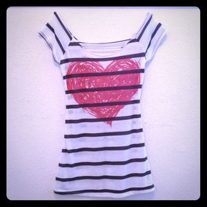 local boutique  Tops - Stripped Heart Shirt