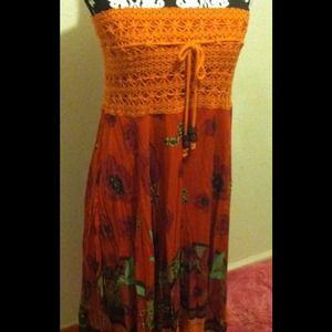 Dresses & Skirts - Orange multi-color dress/skirt
