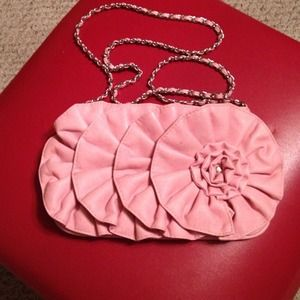 Handbags - Pink leather flower design mini handbag/clutch