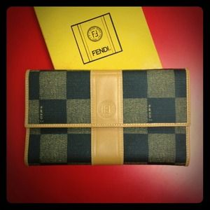 FENDI Clutches & Wallets - Fendi Checkered Wallet Deadstock Brand New