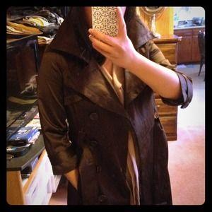 New BEBE brown satin trench coat, size S