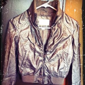 Metallic copper faux leather bomber jacket; size S