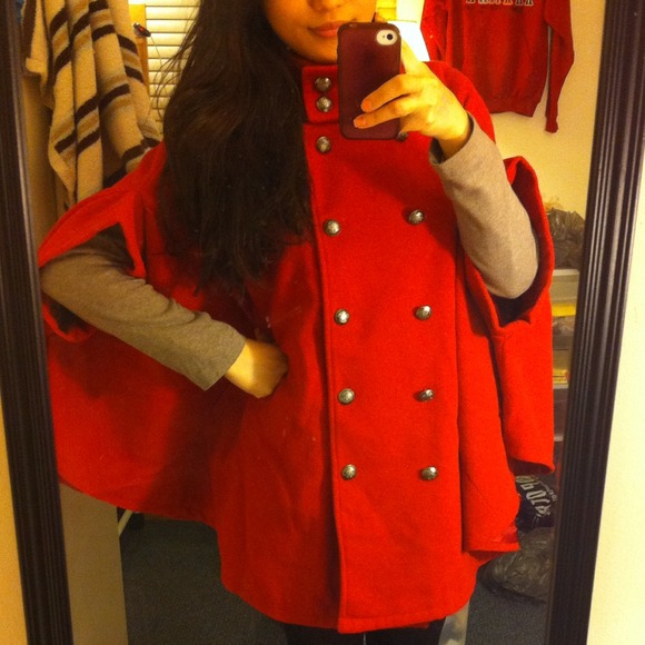 Outerwear - Red cape jacket 2