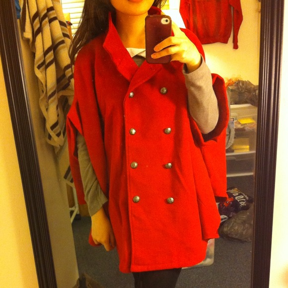 Jackets & Coats - Red cape jacket