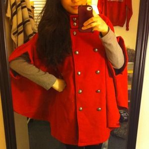 Jackets & Coats - Red cape jacket 2