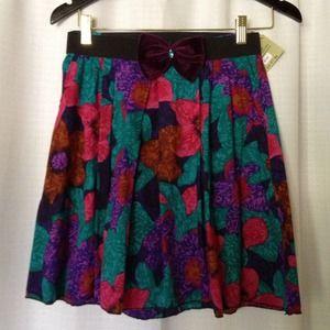 Floral Skirt w/ Velvet Bow
