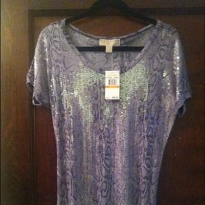 Michael Kors Tops - ⭕SOLD Michael Kors purple sequin python top