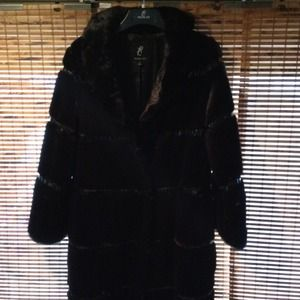 Rachel Zoe Full Length Faux Fur Coat wPatent Trim