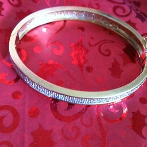 Jewelry - gold over sterling silver bangle wgenuine diamonds