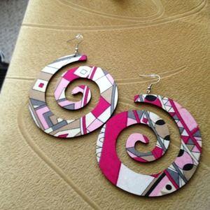 Jewelry - Wooden Pink Psychedelic Print Six Swirl Earrings