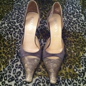 Reduced Prada snakeskin and satin pumps