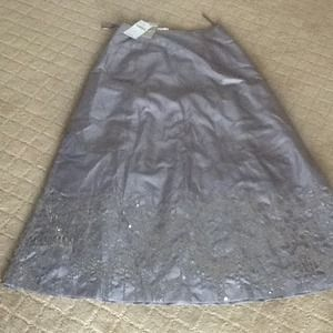 NWT Laura Ashley Sequin Gray long Skirt