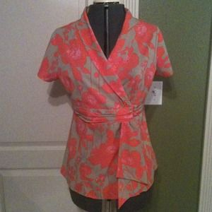 Chadwicks Tops - Coral/Khaki Floral Print Wrap Top