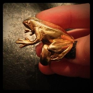 Sterling silver and gold plated frog ring