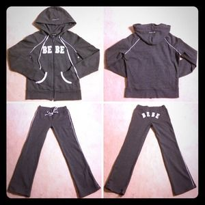 bebe Pants - BEBE SATIN PATCH/PIPING HOODY & SWEATPANTS