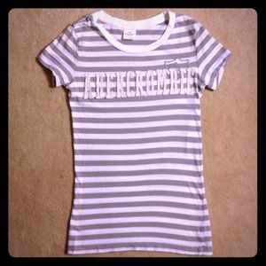 Abercrombie & Fitch Tops - ABERCROMBIE & FITCH GREY & WHITE STRIPED SHINE TEE