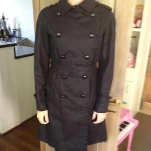 Burberry Outerwear - Burberry black ruffle trnchcoat.