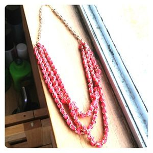 Gold chain and red fabric necklace! REDUCED