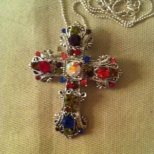Jewelry - CROSS NECKLACE/BROACH....STUNNING!
