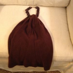 MILLY Chocolate Cashmere Halter Top