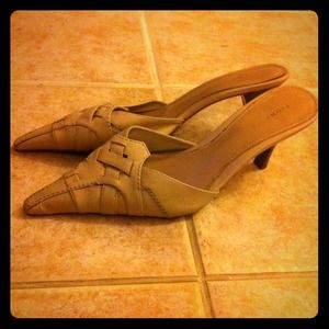 Light tan mules. Great pointed toe.