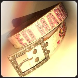 Ed Hardy Accessories - Ed Hardy sz m/l white leather belt with crystal
