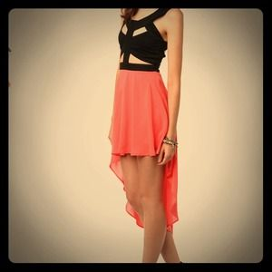 Reverse Cutout High Low Dress