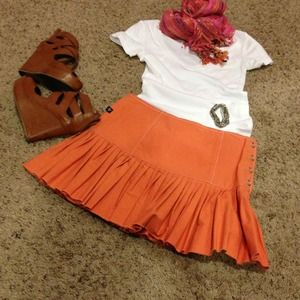 Buddy J Dresses & Skirts - Orange pleated skirt