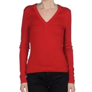 Zara Sweaters - Zara red long sleeve v neck light-weight sweater