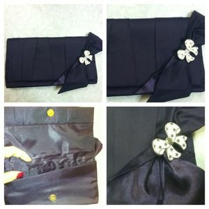 Estée Lauder Handbags - Estee Lauder dark purple satin bow clutch