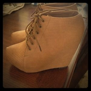 Shoes - Tan Lace Up Booties Hidden Platform Heels