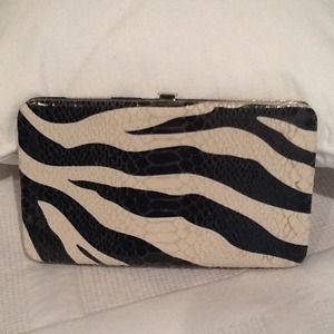 Handbags - Faux Alligator Embossed Zebra Printed Wallet.