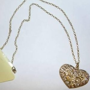 Ava & Grace Jewelry - Ava & Grace Goldtone Rhinestone Heart Necklace NEW