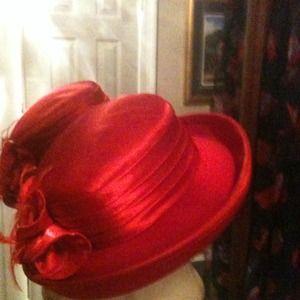 Outerwear - RED satin/felt Hat NWOT