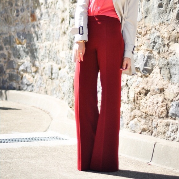 81% off Zara Pants - Zara Burgundy Wide-leg trousers from Anh's ...