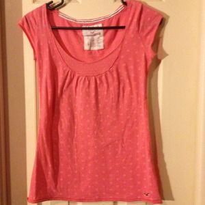 Hollister Tops - $TRADED$ Hollister Coral polka dot T