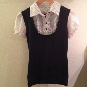 Sweaters - Black sweater w/ white polka-dot faux shirt