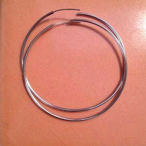 """Jewelry - 2 1/2"""" Silver Hoop Earrings"""