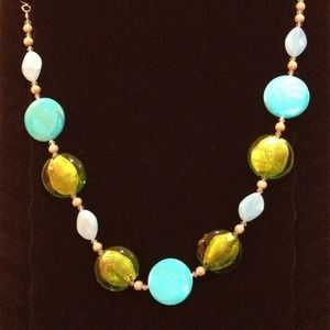 Jewelry - Blue & Green Stones Fashion Necklace!
