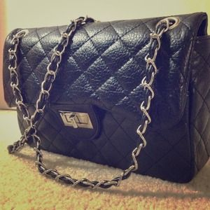 Handbags - Black Quilted Sheepskin Designer Inspired Bag
