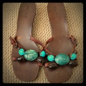 Miu Miu brown stone leather sandals w/kitten heel