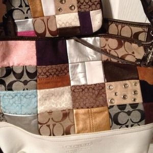 Authentic Coach patchwork large purse w/wristlet.