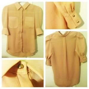 Tops - Blush nude chiffon blouse