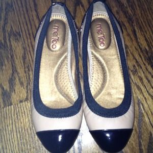 Shoes - Tan and black patent leather flats