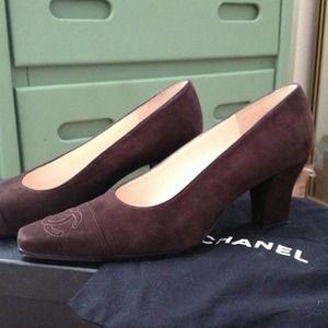 Brown suede Chanel pumps