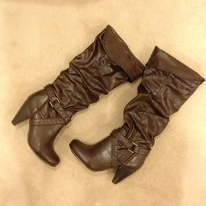 Shoes - Knee high dark brown high heel boots in size 6.5