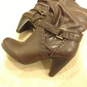 Shoes - Knee high dark brown high heel boots in size 6.5