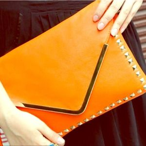 Clutches & Wallets - Studded Envelope Clutch in Orange