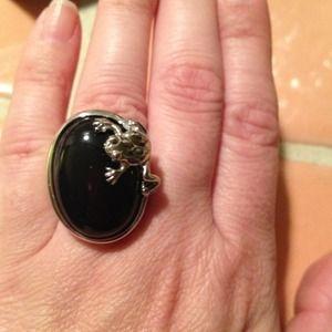 Jewelry - Stainless Steel Frog w/Onyx gem ring